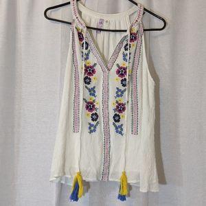 3 For $15 Alya Embroidered Tank Boho Hippie Sz M